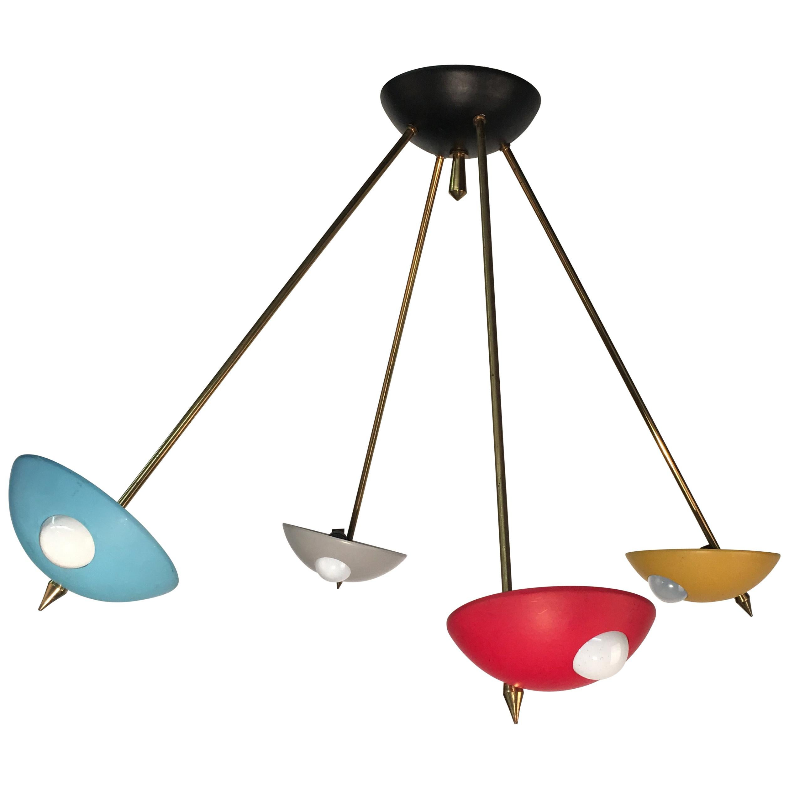 Stilnovo Style Midcentury Italian Brass & Lacquered Aluminium Ceiling Lamp 1950s