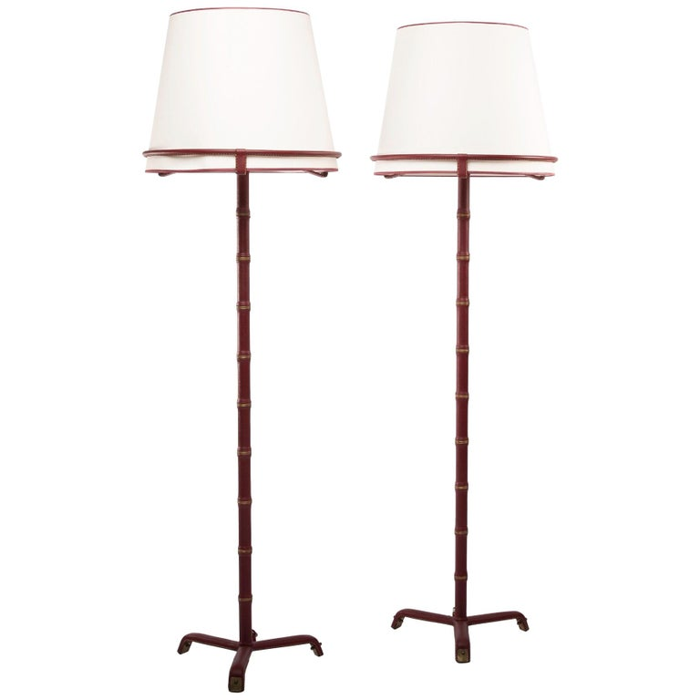 French Midcentury Pair of Floor Lamps, Jacques Adnet, Saddle Stitched Leather For Sale