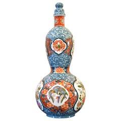 Very Large Japanese Red Blue Imari Ceramic Lidded Vase by Master Artist, 2019