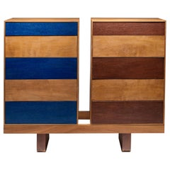 Twins, Chest of Drawers in Iroko and Painted Front Drawers