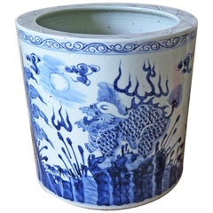 Large Chinese Porcelain Jardiniere or Planter Jar Blue and White, hand painted