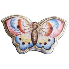 Antique Porcelain Spode Double Sided Butterfly Box and Cover, circa 1810-1830