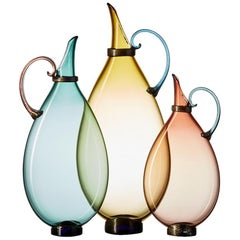 Three Hand Blown Glass Pitcher Vases by Vetro Vero, Custom Colors