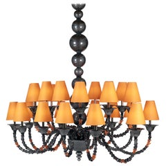 Chandelier Rezzonico Style with 24 Lights in Murano Glass and 3D Print