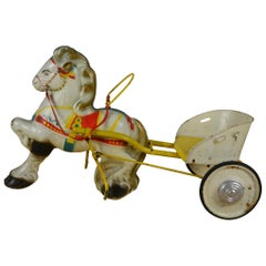 1960s Sebel Mobo Toy Horse, Pedal Carrey Trailer, Pressed Steel, UK