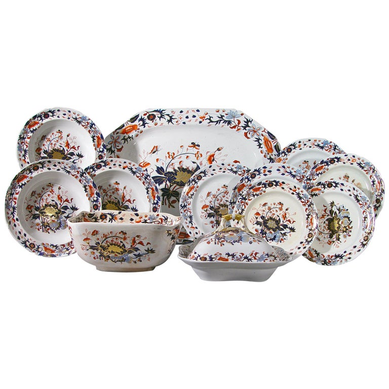 Spode New Stone China Dinner Service Eighty Four Pieces, Pattern #3504 For Sale