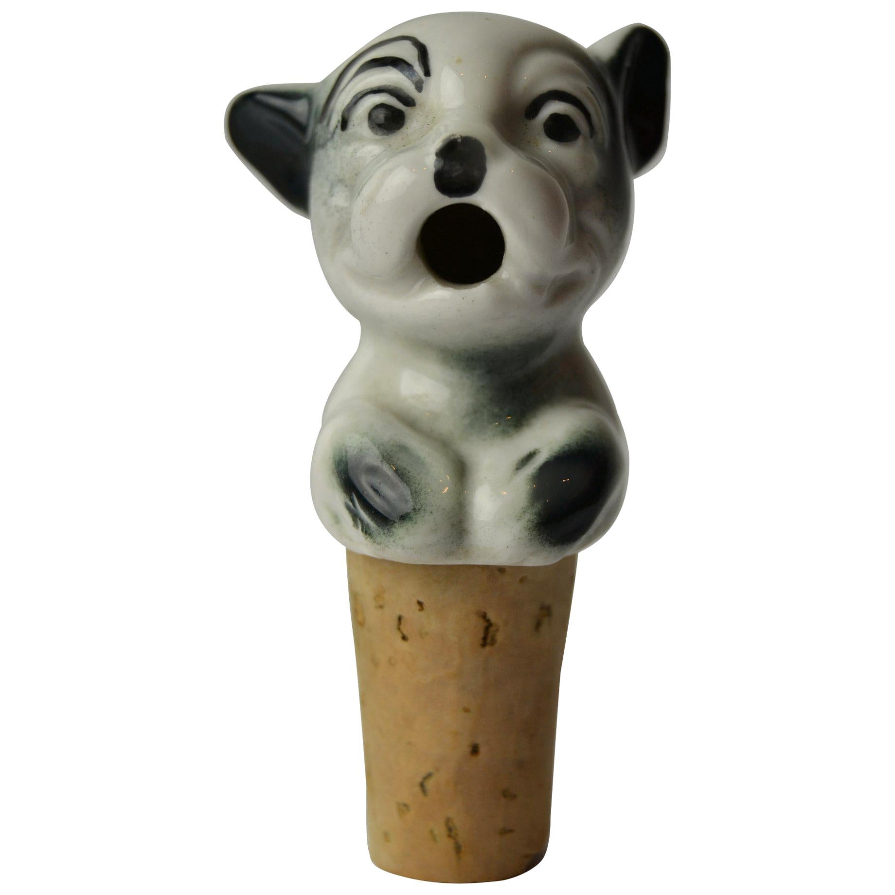 Figural Porcelain Bottle Stopper with Bonzo the Caricature Dog