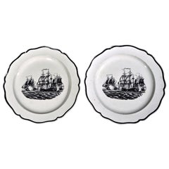 Liverpool Pearlware Plates Decorated with Ships, circa 1800