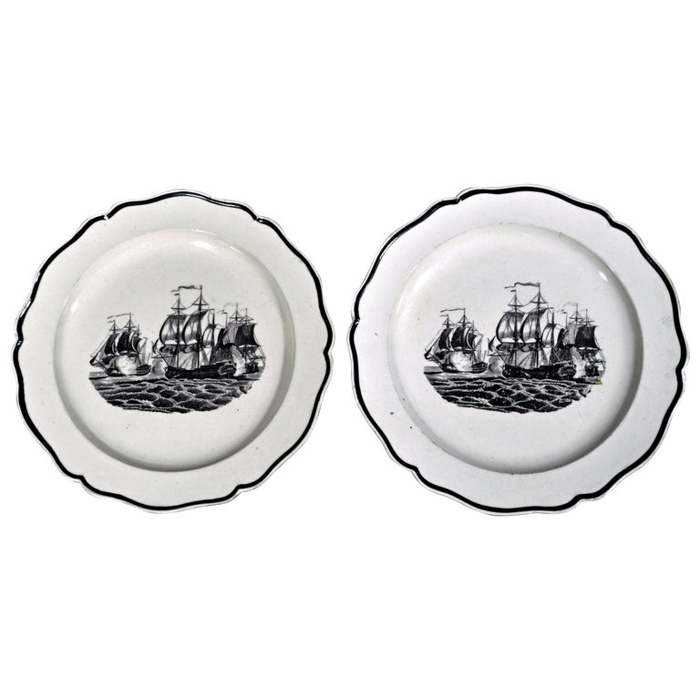 Liverpool Pearlware Plates Decorated with Ships, circa 1800 For Sale