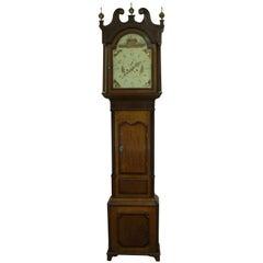 English George IV Oak and Mahogany Longcase Clock