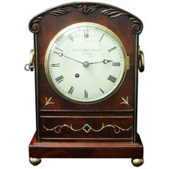 English Mahogany and Brass Inlaid Timepiece Bracket Clock