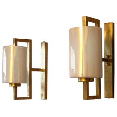 Pair of White Murano Glass and Brass Sconces, Iridescent and Pearly Cylinder