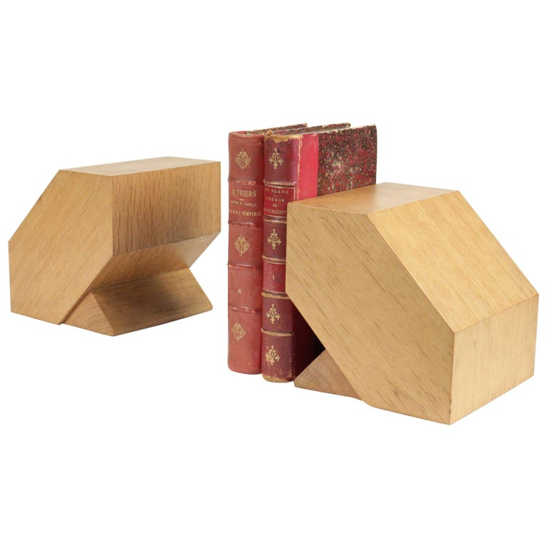 Pair of Bookends in Light Oak, circa 1960, Midcentury, Vintage Design For Sale