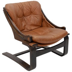 Attributed Arne Norell Leather Lounge Chair