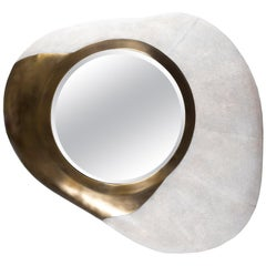 Chital Mirror in Cream Shagreen and Bronze-Patina Brass by Kifu Paris