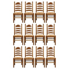 Tuscany Renaissance, Hand Carved Solid Walnut Twelve Straw Chairs
