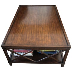 Stunning Very Large Walnut X Design Coffee Table