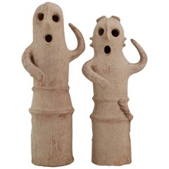 Vintage Halloween Sculptures Jack-o'-lantern Paper Clay Ghost Toppers