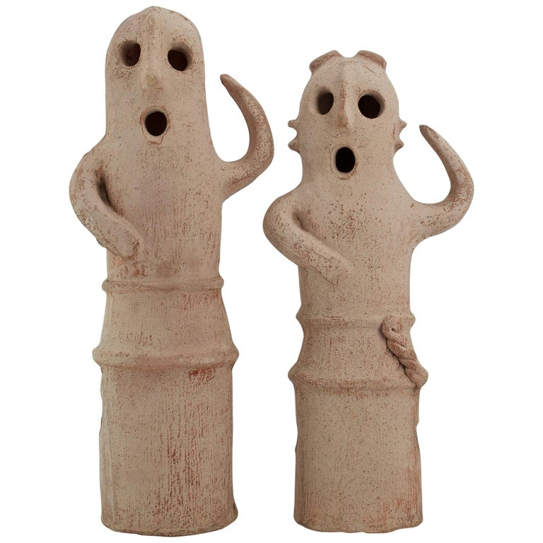 Vintage Halloween Sculptures Jack-o'-lantern Paper Clay Ghost Toppers For Sale