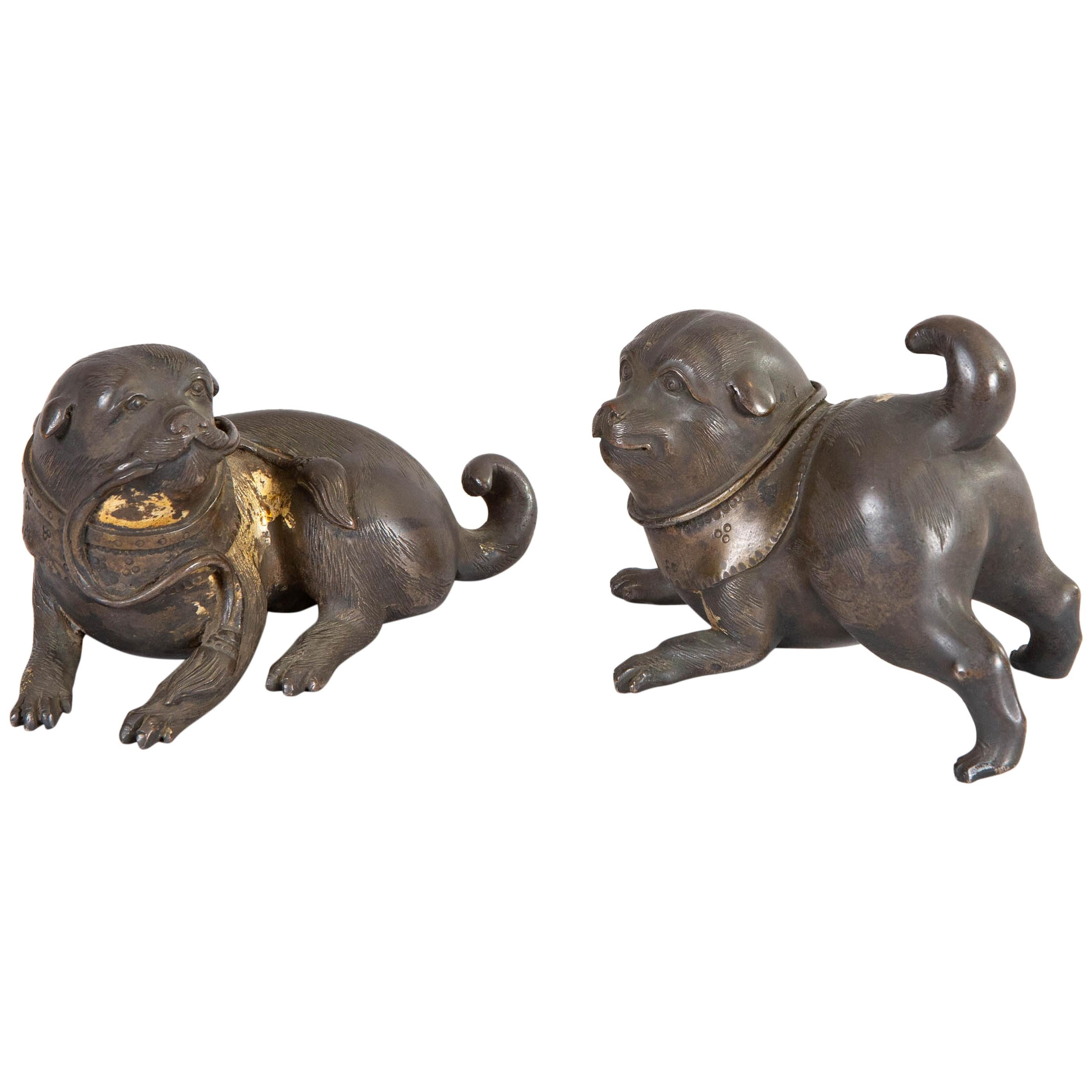 Pair of 19th Century Japanese Bronze Playful Puppies