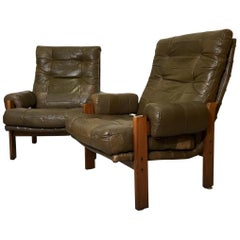 Pair of Vintage Swedish Patchwork Green Leather Lounge Chairs from OPE