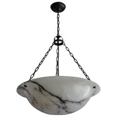 Extra Large Antique Black & White Alabaster Chandelier Top Quality Light Fixture