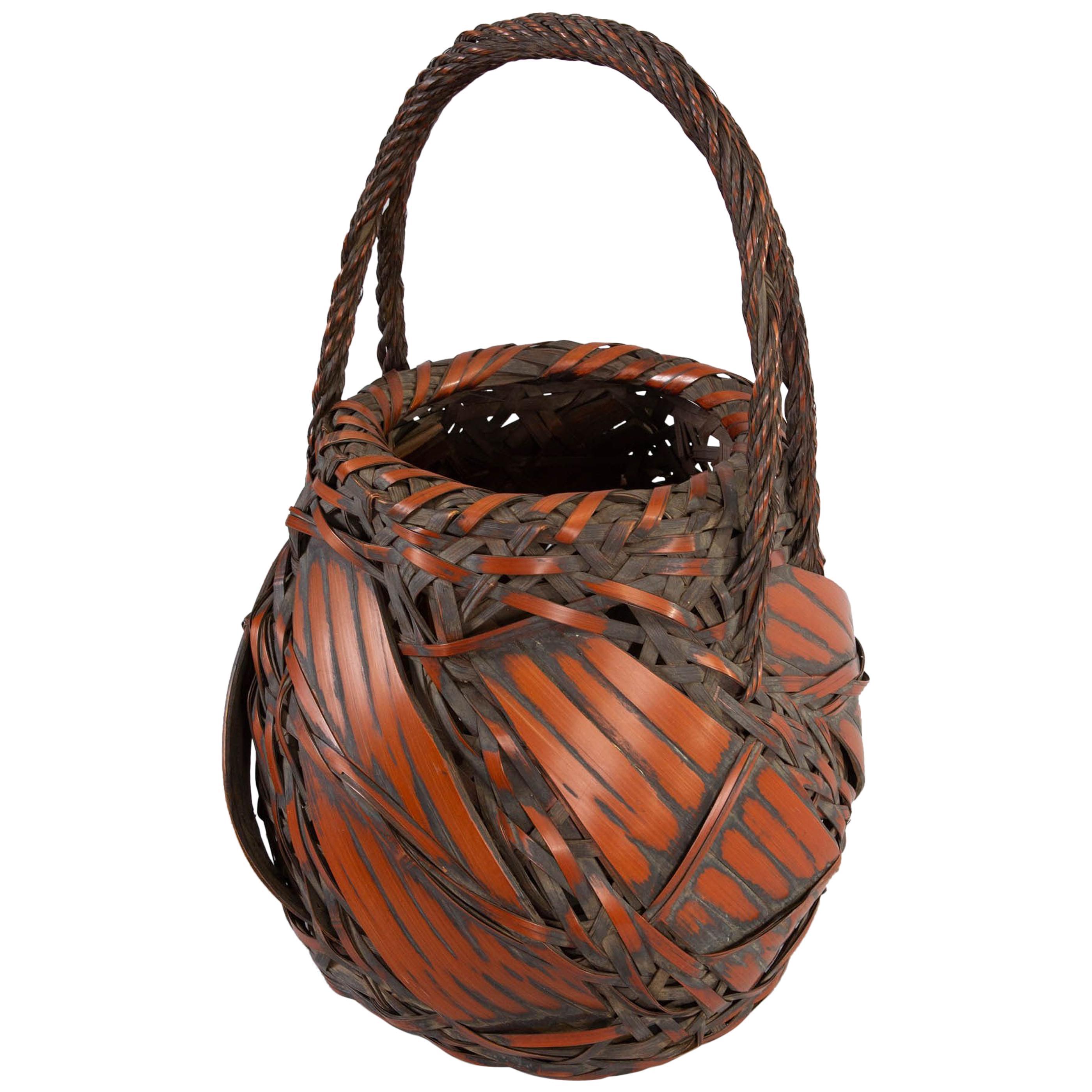 Antique Japanese Large Bamboo Basket for Flower Arranging