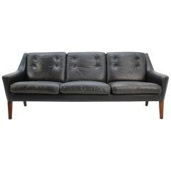 1960s Scandinavian Three-Seat Sofa in Black Leather