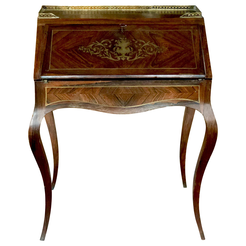 SALE 19th Century French Louis XVI Mahogany Inlaid Ladies Desk Brass Ornaments