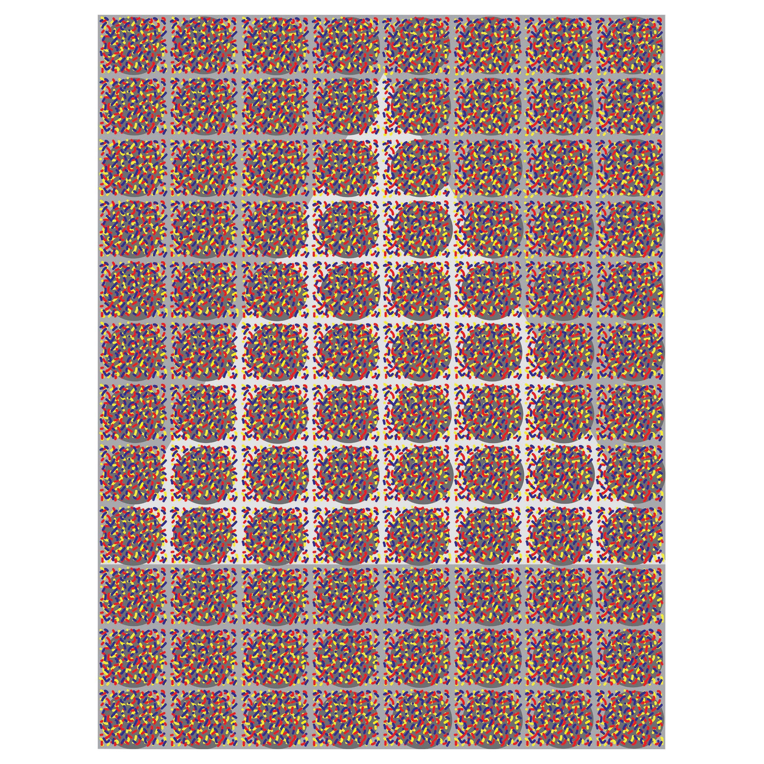 """Michael Zenreich Conceptual Abstract Digital Print """"Confetti White Triangle"""""""