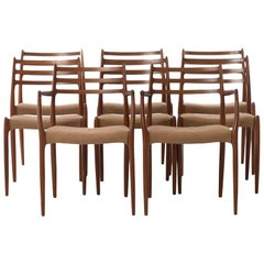 Danish Modern Teak Ladder Backed Dining Chairs Niels Otto Møller