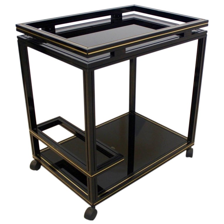 Pierre Vandel Paris Black and Gold French Barcart, 1970s For Sale