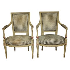 Late 19th Century French Directoire Style Pair of Armchairs