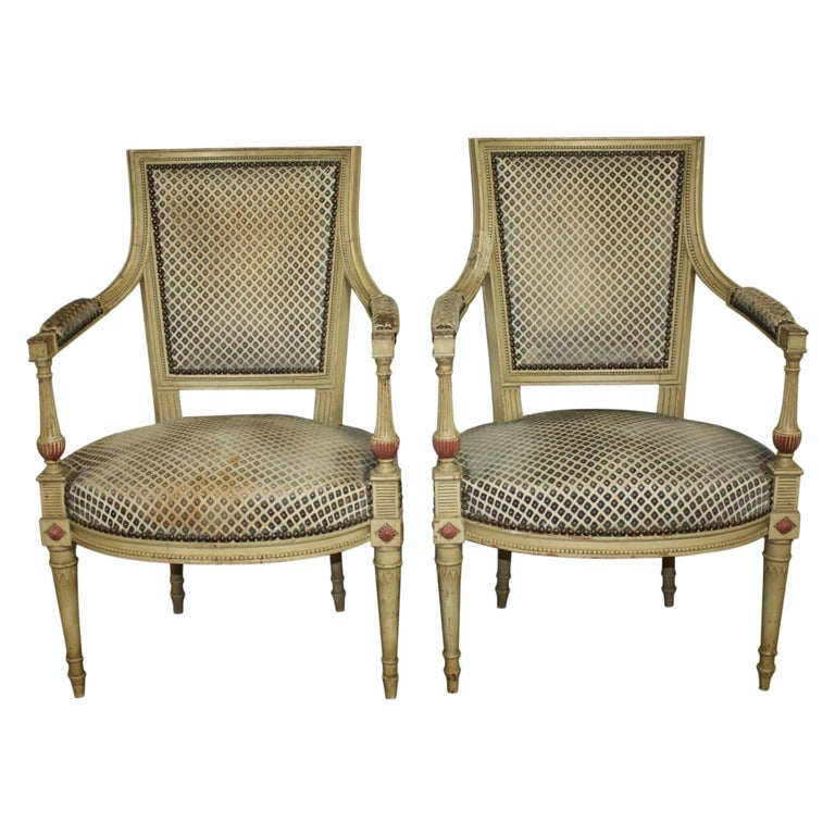 Late 19th Century French Directoire Style Pair of Armchairs For Sale
