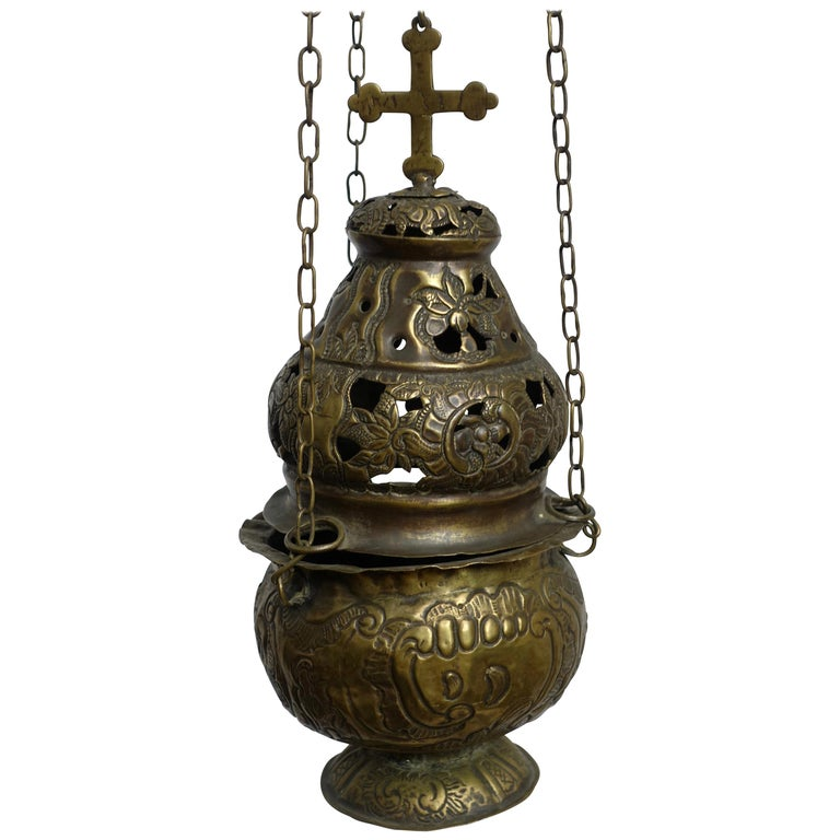 Religious Repousse Brass Hanging Incense Burner, Spanish Colonial, 19th Century For Sale