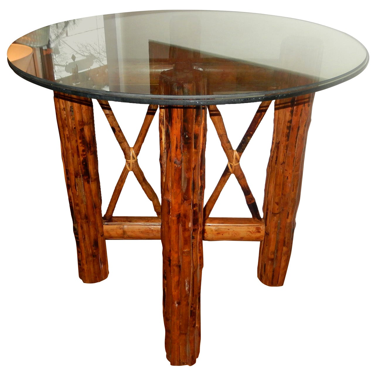 Bamboo  English and Tortoiseshell Finish Center Table/Dinning