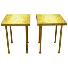 Midcentury Mosaic and Brass Side or End Tables