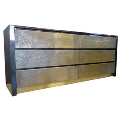 1970s Steve Chase Six-Drawer Lacquered Chest with Textured Brass Drawer Fronts