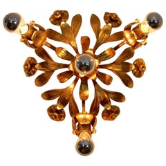 Exotic Hollywood Regency Gilt Floral Flush Mount by Hans Kögl, Germany