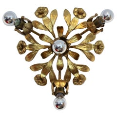 Exotic Hollywood Regency Gilt Floral Wall Lamp by Hans Kögl, Germany