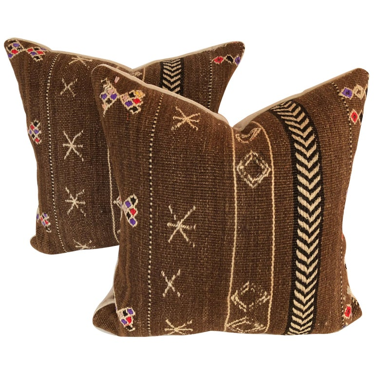 Custom Pillows by Maison Suzanne Cut from a Vintage Wool Moroccan Ourika Rug For Sale