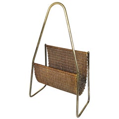 Midcentury Carl Auböck Brass and Rattan Magazine Rack Stand, 1950s, Austria