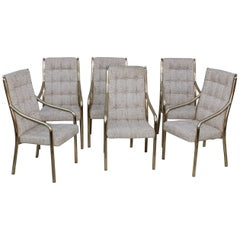 1980s Brass Dining Chairs Set of Six
