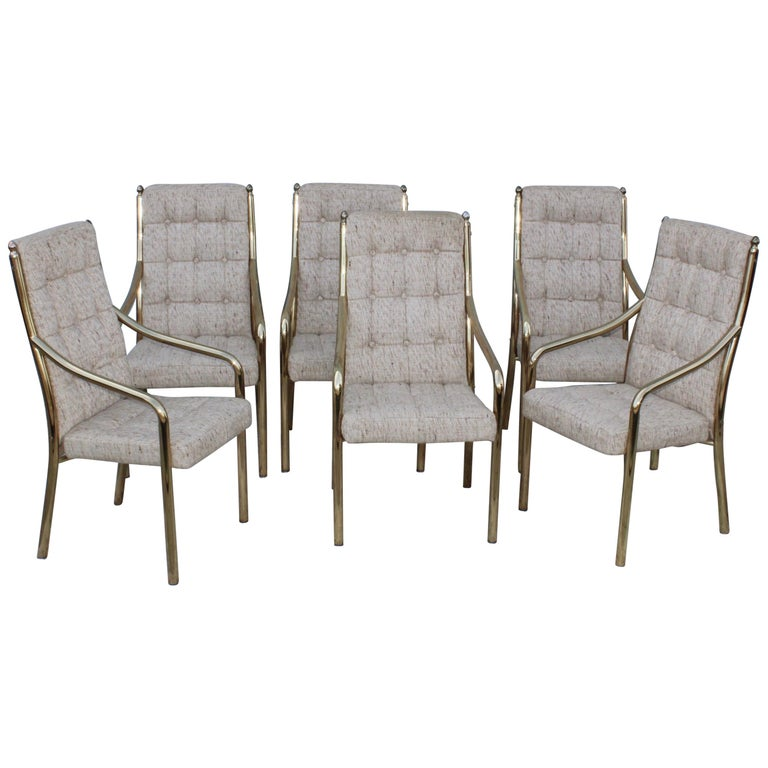 1980s Brass Dining Chairs Set of Six For Sale