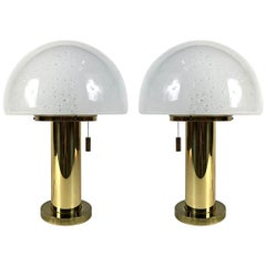 Glashütte Limburg Mushroom Brass Lamp, Blown Glass Shade, 1970s, Germany