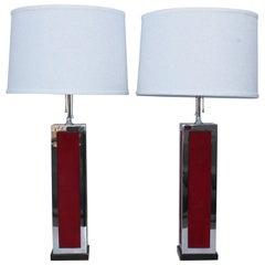1970s Modern Chrome and Velvet Table Lamps