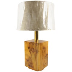 Milo Baughman Style Modernist Burl Wood and Brass Table Lamp