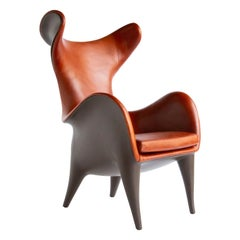 Frankie Wingback Chair/ Lounge Chair, Leather & Resin, Jordan Mozer, USA, 2018