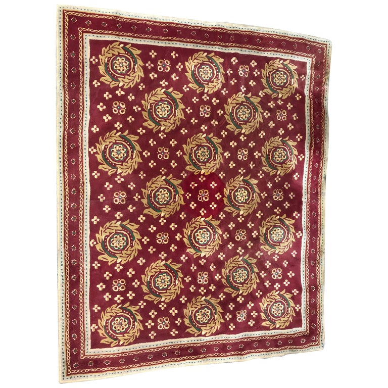 Beautiful Vintage Aubusson Design Hand Tufted Rug For Sale