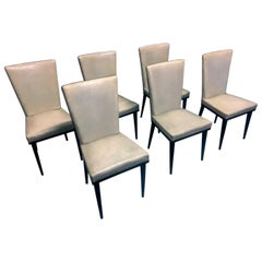 Italian Midcentury White Dining Chairs by Vittorio Dassi, 1950s, Set of 6